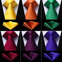 Men's Ties Blue Black Red Solid Color Classic Necktie Pocket Square Set Wedding
