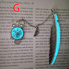 1X Luminous Night Owl Bookmark Label Read Maker Feather Book Mark Stationery H&P