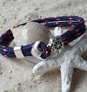 Armband Segeltau maritim mit Ankerverschluss versilbert Dunkelblau Rot Weiß