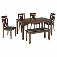 Ashley Furniture Bennox 6 Piece Dining Set in Brown