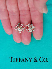Tiffany & Co Paloma Picasso Daisy Flower Sterling Silver 18K 18Ct Stud Earrings