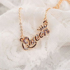 Elegant Gold Letter Queen Pendant Shiny Rhinestone Clavicle Chain Necklace Gift