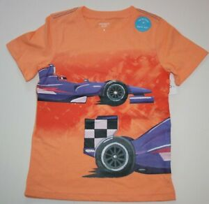 New Carter's Boys 5 year Top Graphic Tee Racing Car w Flags on Back Orange