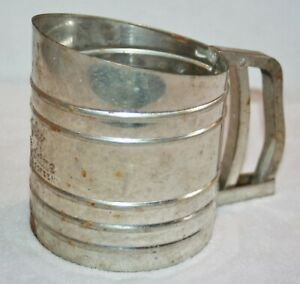 Vintage Metal Foley Sift Chine Triple Screen Flour Sifter Kitchenware OLD