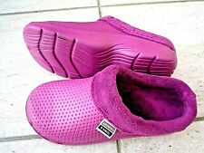 NEW Town & Country pink fleecy lightweight patterned CLOGGIES--Size 4 UK adult.