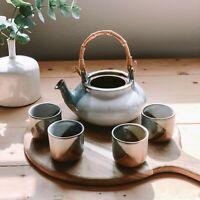 Vintage Ceramic Blue Brown & Cream Mid-Century Modern Teapot and Teacup Set
