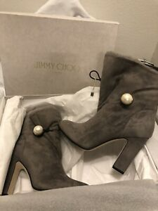 **Jimmy Choo** NEW Grey Suede Bethany Pearl Ankle Boots 39