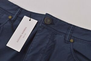 Luciano Barbera NWT 5 Pocket Casual Pants Sz 52 36 US Navy Blue Cotton Blend