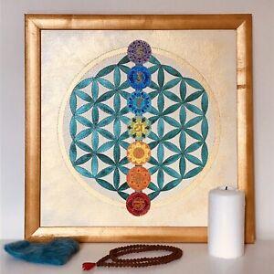 SACRED GEOMETRY MANDALA FLOWER OF LIFE CHAKRAS CRYSTAL GRID CANVAS ACRYLIC ART