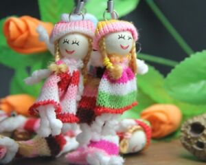 Mini Rag Doll keyrings Easter Fashion Beautiful Colours Peg head Wool Dress 8 cm