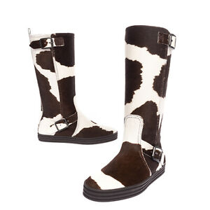 RRP €360 HOGAN REBEL Calf Hair Mid-Calf Boots Size 36.5 UK 4 US 6.5 Cow Pattern