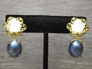 Sterling Silver Carved Rose Blue Pearl Earrings