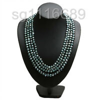 """100"""" 7-8mm Long BLACK Baroque Cultured Freshwater Pearl Bead Necklace Chain"""