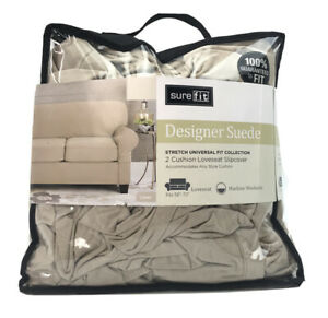 """Sure Fit Stretch Suede 2 cushion Sofa size Slipcover Luggage Linen 58""""-73"""""""