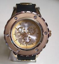 Men's Techno Pave  Silver/Gold/Black Silicon Band Fashion Dressy/Casual Watch