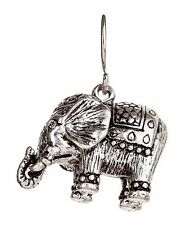 NWT Silver Royal Happy Elephant Etched Detail Earring With Crystal Eyes