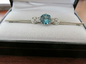 Superb Art Deco Blue Zircon and Diamond Bar Brooch with Valuation $5,750