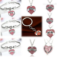 Pink Rhinestone Heart Necklace Pendant Chain Jewelry Charm Bracelet Women Men