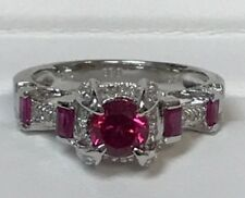 Women 14 Kt White Gold Vintage Diamond & Ruby Anniversary And Wedding Ring
