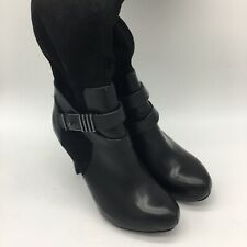 Bar 111 High Heel Boots, Black Leather, Size 6.5