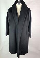 Vintage Lilli Ann Coat Black Wool Cashmere Long Swing Jacket Made in Paris
