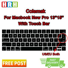 "Colemak Silicone Keyboard Cover Skin For MacBook Pro 13""15""Touch Bar A1706 A2159"
