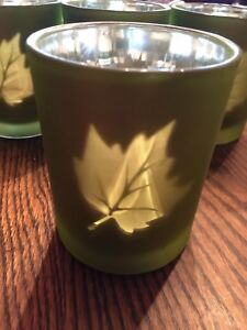 Christmas Fall glass Votive Holder Green Silver Candle Holiday Leaf