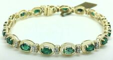 NATURAL 5.40 Cts EMERALDS & DIAMONDS BRACELET 10k Gold *FREE Appraisal * NWT