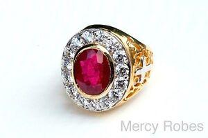 Men's Clergy Apostle Ring, Style Mercy2014 (G-R), Genuine Ruby, Swarovski Stones