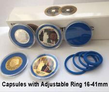 10 Coin Capsules Case+Adjustable Ring 16-41mm Pennies Nickel Quarter Half Dollar