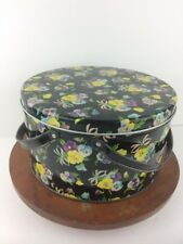 "Vtg Handled Tin Pansies Black Purple Yellow Pansy Flower Flowers  8.5""x4 3/4"""