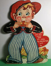 Large Antique Vintage Mechanical Valentine Boy Playing Harmonia Made In Usa