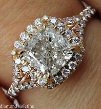 GIA 1.84CT ESTATE VINTAGE CUSHION DIAMOND ENGAGEMENT WEDDING ROSE GOLD RING