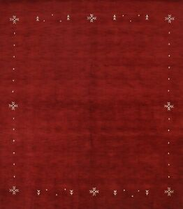 Hand Knotted Contemporary Square Red 8x8 Gabbeh Oriental Area Rug Wool Carpet