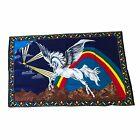"""Vintage 1970's Ha-Va-Ti Felt Wall Tapestry Rainbow Pegasus 34"""" x 54"""""""