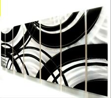 Large Abstract -7 panel - Modern Metal Wall Art Silver Black Painting  Jon Allen