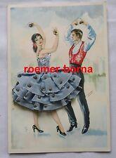 77245 Ak Spanien tanzendes Paar mit Kastagnetten, weiter Rock aus Stoff um 1970