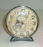 Vintage EQUITY Snoopy Playing Tennis Alarm Clock Wind Up Does Not Work