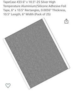 """TapeCase 433 6"""" x 10.5""""-25 Silver High Temperature Aluminium/Silicone"""