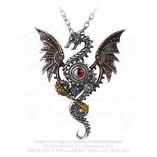 Alchemy Gothic Peltro altoforno Behemoth Steampunk Collana con Pendente drago