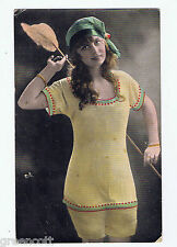 Early saucy, Girl wearing bed clothes/pyjamas/hat, feather tickler, 1917, old PC