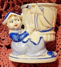 Antique 1926-1929 Moriyama Mori-Machi Porcelain Dutch Girl Planter/Vase - Japan