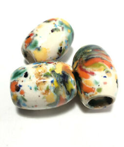 Porcelain bead lot(3) large 30mm oval abstract multi color colorful white beads.