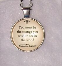 "silver GANDHI QUOTE WORDS pendant charm 20""  necklace chain men women"