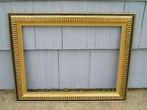 Vintage Mid Century Modern Black Gold Deep Pressed Picture Frame 18 x 24 Wood  2