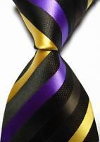 New Classic Stripes Brown Purple Gold JACQUARD WOVEN 100% Silk Men's Tie Necktie