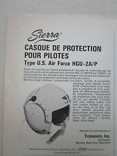 12/1968 PUB SIERRA ENGINEERING CASQUE AVIATION HELMET US AIR FORCE HGU-2A/P AD