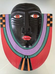 Beautiful Painted Wood Carving, African, Indonesian, Laurel Burch, Wall Hanging