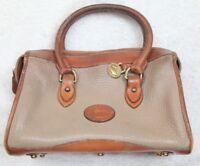 Dooney Bourke Beige & Brown Vintage Leather Purse Bag Clutch Carry Handle Zip Up