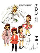 McCall's Slim Girl Doll's Wardrobe Wedding Dress Sewing Pattern #2457